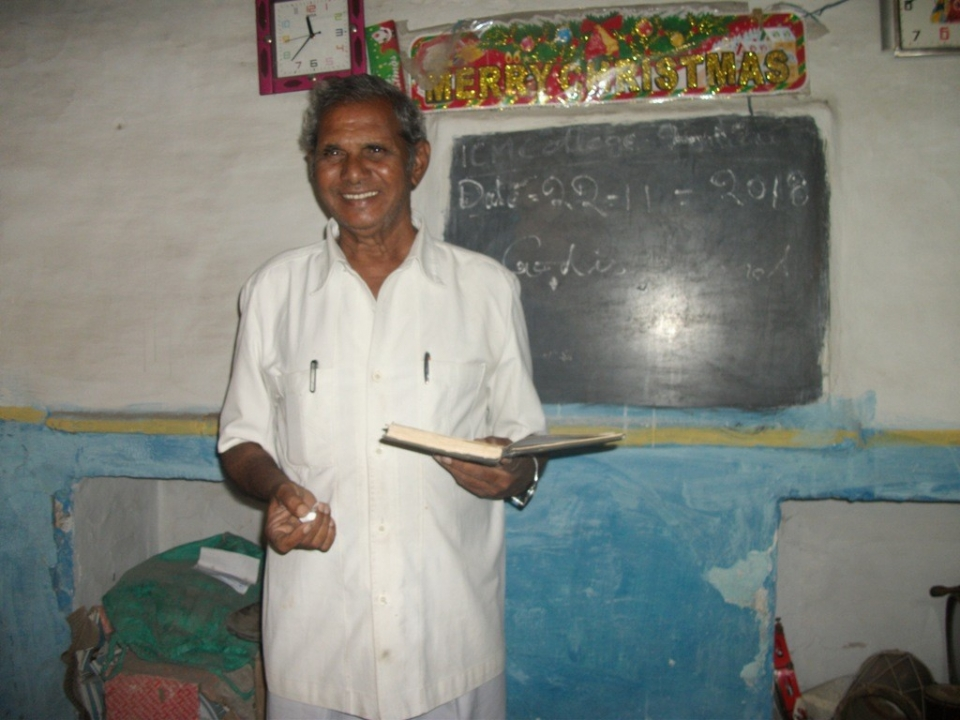 Pastor Cheruvi Henry DavidIt is with great sadness that I announced today the loss of a very dear friend.  Pastor Cheruvi Henry David our campus director in India has gone to be with Jesus. He was a faithful friend, teacher and director for our college. He sacrificed very much to teach classes for ICM in Southern India. He made sure that all of our students had transportation and food to eat when they came to class. He taught the word of God to them as a faithful servant. He will be missed a lot. He would send me emails every month detailing everything about the ministry and what was going on in India. He loved to send photos of the students and the class. I will miss him very much. he was a great man of God and minister of the Gospel of Jesus Christ.